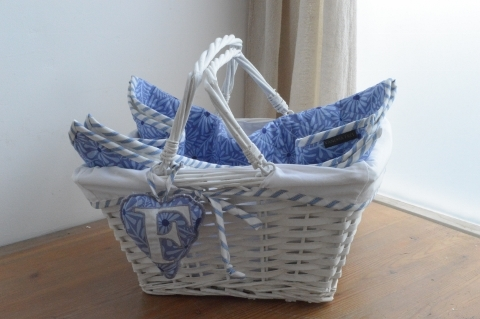 Baby boy shower hamper gift quilt