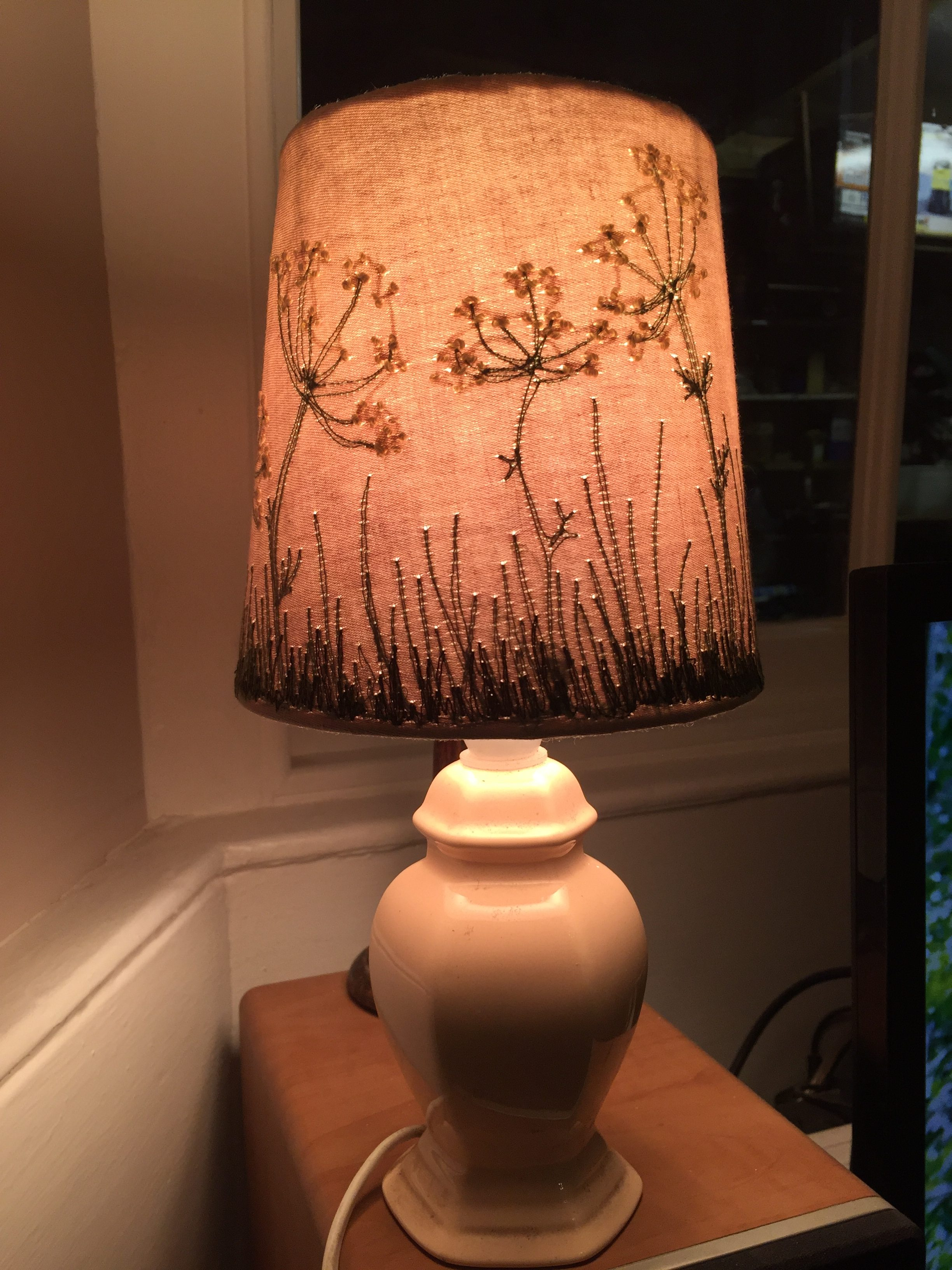 Machine Embroidered lampshade