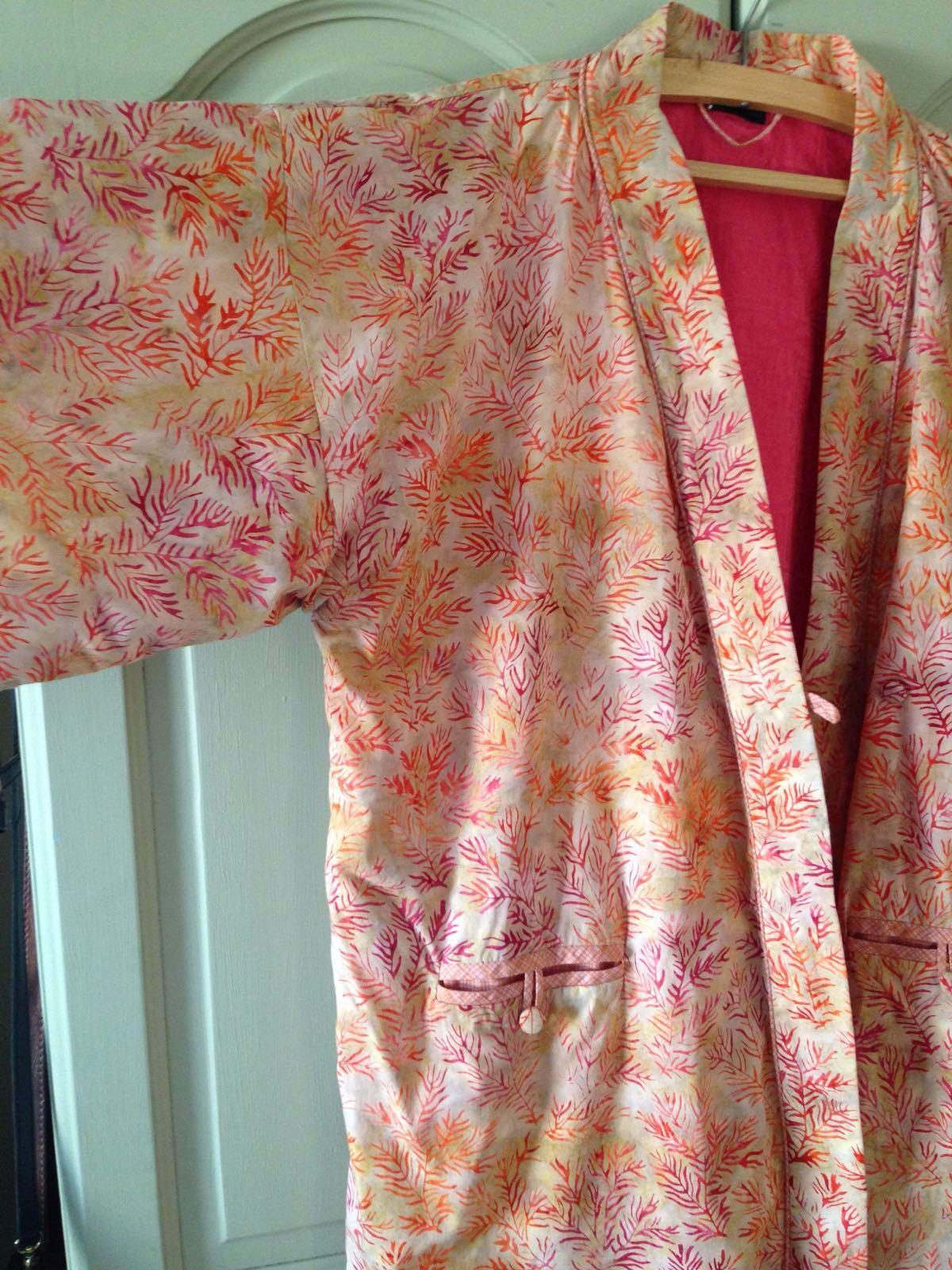 Dressing gown batik fabric jacquard lining