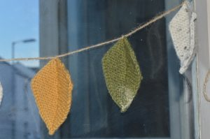 knitted leaf garland