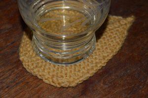 knitted leaf coaster