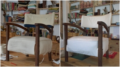 bleached canvas oak chair cover